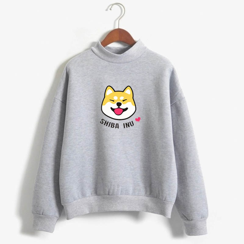 2019 frauen sweatshirt harajuku Japanischen Shiba Inu Emoticon Crewneck sweatshirt Kaffee Frappe Shiba Inu Crewneck