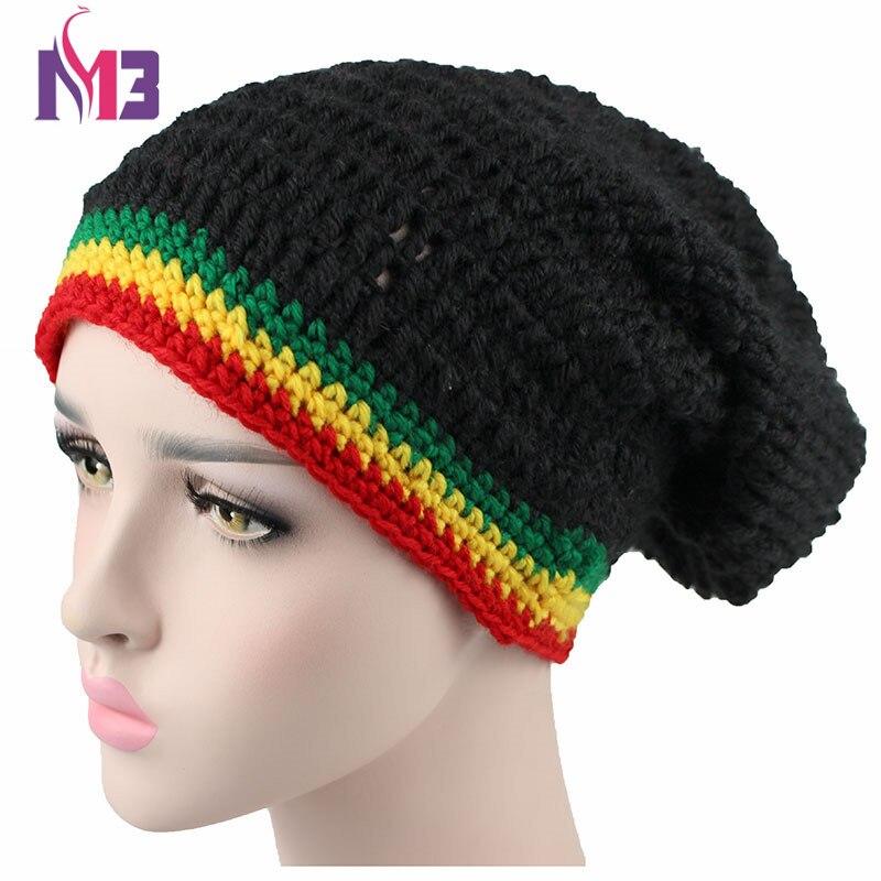 Moda unissex rasta chapéu de inverno quente artesanal malha crochê chapéus jamaicano gorro boné hip hop bob marley rasta reggae chapéus