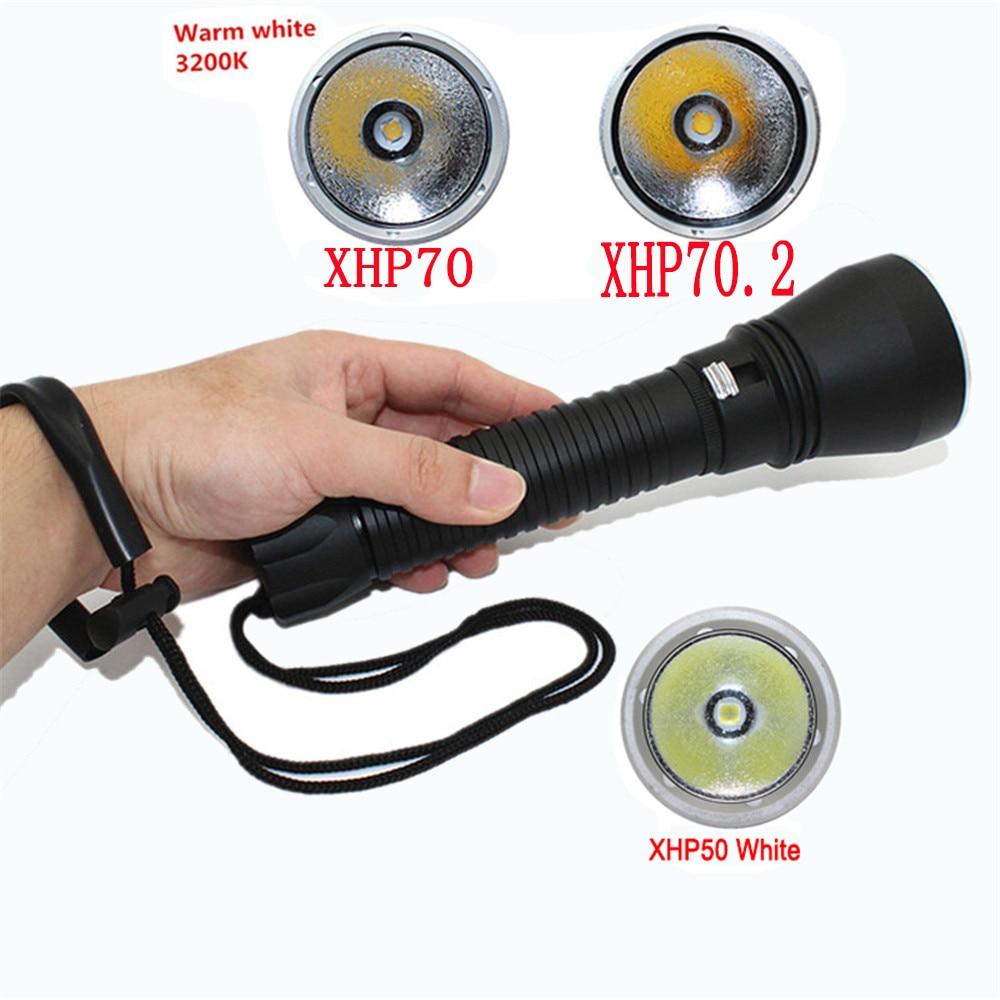XHP70.2 LED Duiken Zaklamp 4800LM Utral Bright Onderwater Torch XHP50 2600LM Waterdichte Duiken zaklamp Lamp lanterna