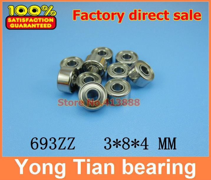 500 Uds rodamientos de bolas de acero inoxidable de gran calidad ABEC-1 Z2V1 SUS440C S693ZZ 3*8*4mm