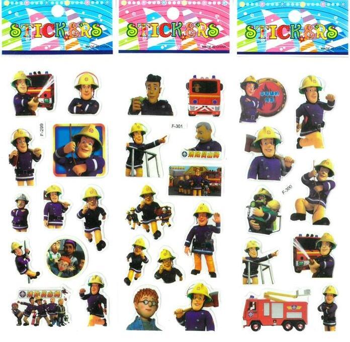 3 sheets/set Fireman Sam stickers toys for kids Home wall decor on laptop cute cartoon mini 3D foam sticker gifts toys