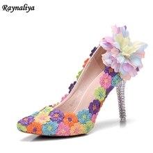 New Multicolor Wedding Dress Shoes Ladies Thin 9cm High Heel Evening Shoes Woman Pumps Dress Shoes Lace Flower XY-A0005
