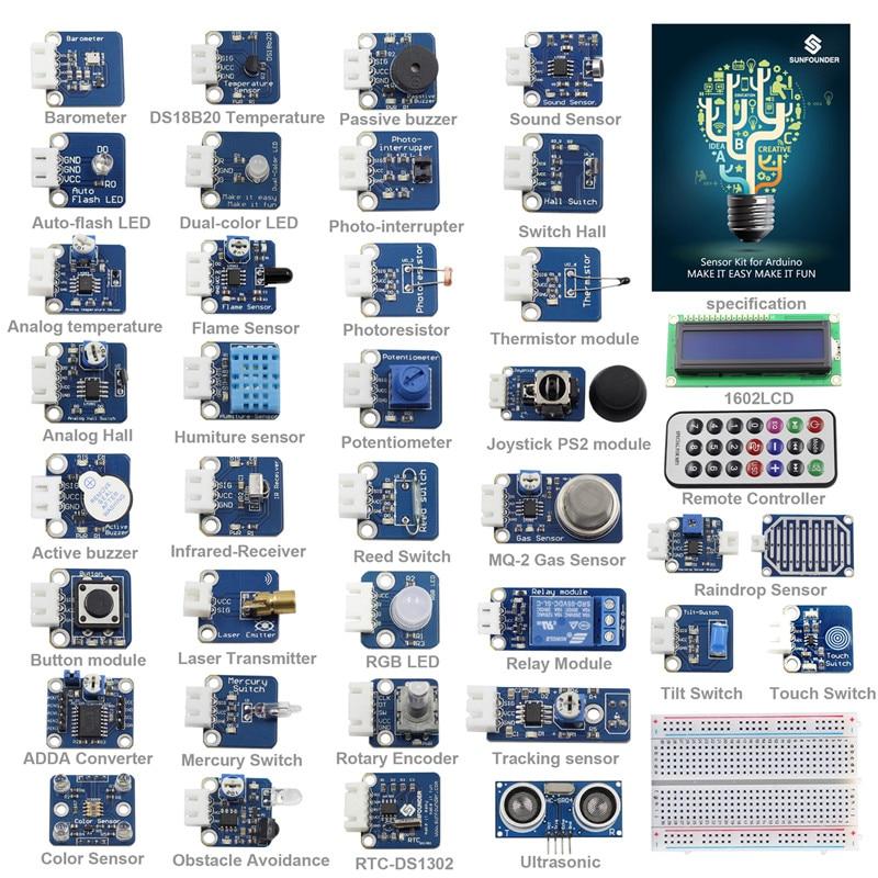 SunFounder 37 Modules Sensor Kit V2.0 for Arduino UNO R3 Mega2560 Mega328 Nano & MCU Education User