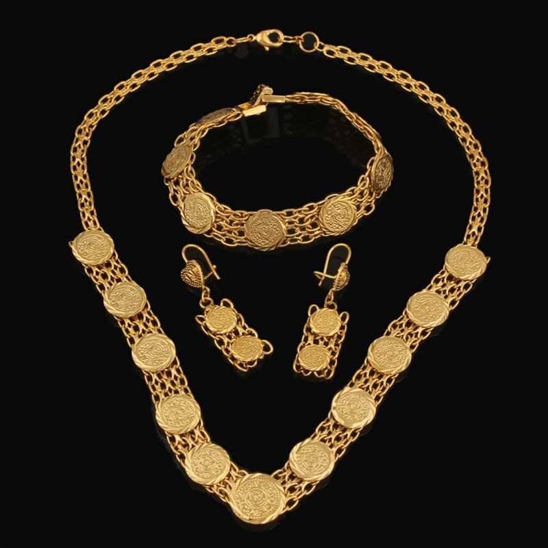 Conjunto de Jóias das mulheres da Cor do Ouro Moeda Clássico Muçulmano Alá Colar Brincos Pulseira Conjuntos De Noiva