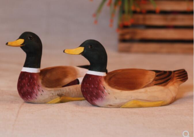 Woodcarving handicrafts handmade wooden animal furnishings solid ducks wild ducks zakka Home Decoration Statues Head