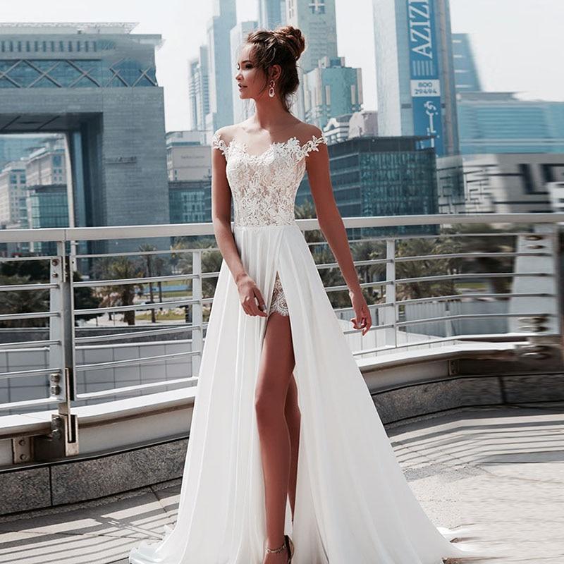 Eighree, vestidos de novia Vintage con abertura, manga casquillo, vestido de novia Simple de gasa 2019, vestidos de novia de encaje con apliques tipo cuchara para playa Bohemia boda