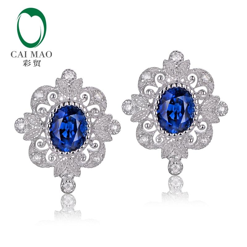 CaiMao Vintage 0.92ct zafiros azules 0.11ct diamante redondo 14kt blanco Oro retro pendientes para las mujeres