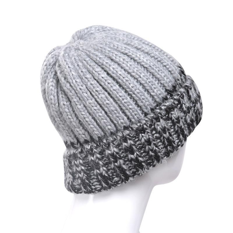 BomHCS moda mujer invierno cálido Beanie 100% gorro tejido a mano gorro de esquí