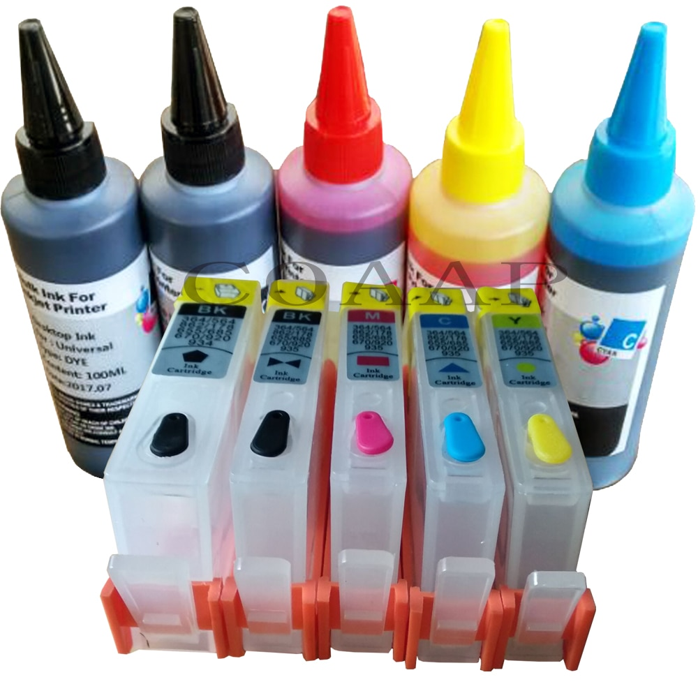 Cartuchos de Tinta recarregáveis para hp 364 com foto kit Preto + tintas Da Tintura 500ml para hp 5510 5520 6510 6520 7510 7520 e-All-in-One