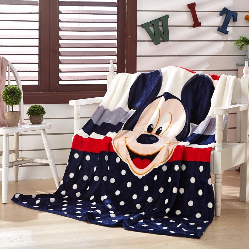 Manta de Franela suave de costura de Mickey Mouse de dibujos animados de Disney para enviar a bebé niña niño cama sofá 150X200CM regalo para niños