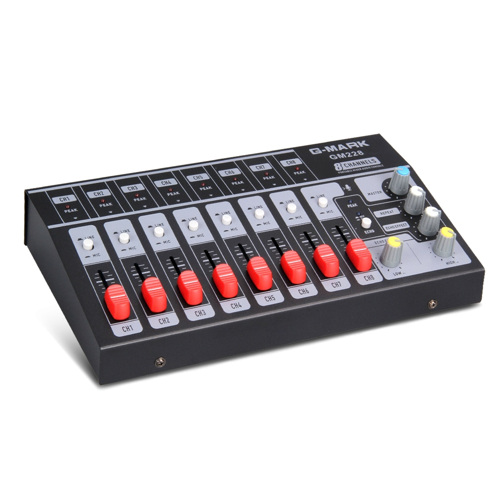 G-MARK 8 canales Mini mezclador portátil consola de audio Mono/sistema de sonido estéreo extendido para instrumento micrófono adaptador de corriente