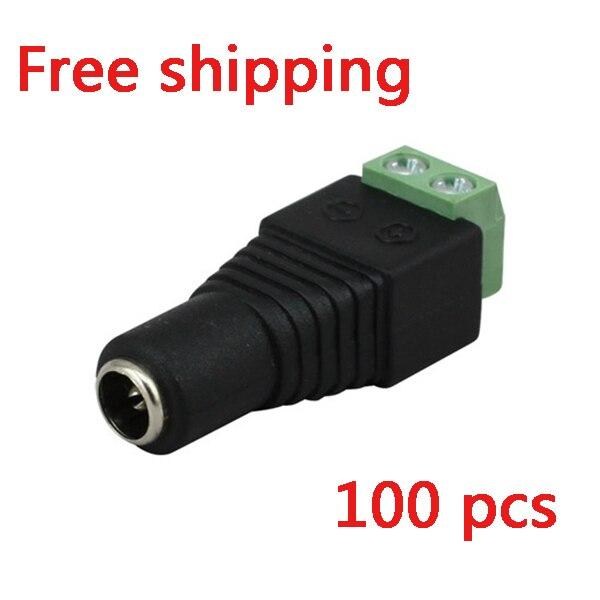 100 pcs 5.5mm x 2.1mm Feminino CCTV LED DC Power Plug Jack Adapter