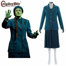Cosplaydiy Elphaba méchant Coslay Costume adulte femmes Halloween carnaval fantaisie Cosplay robe + manteau