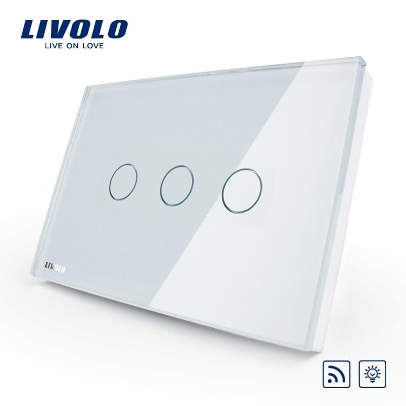 Livolo US/AU standard   Panneau tactile en verre de cristal ivoire, interrupteur de variateur et de lumière murale à distance pour la maison