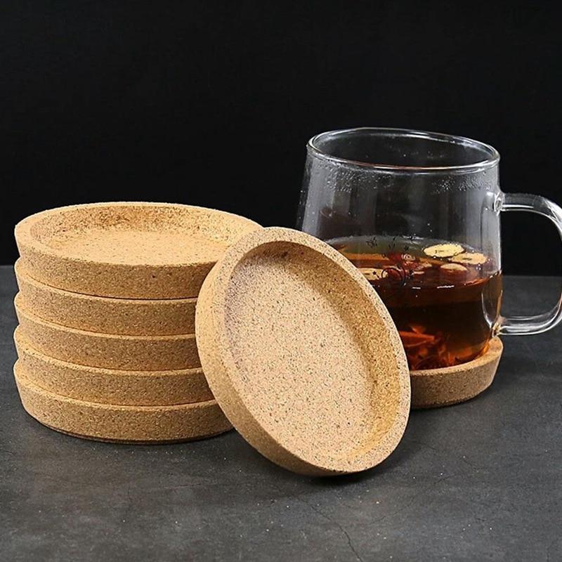Posavasos de madera con aislamiento térmico, posavasos para té, posavasos de corcho redondos para bebidas de café