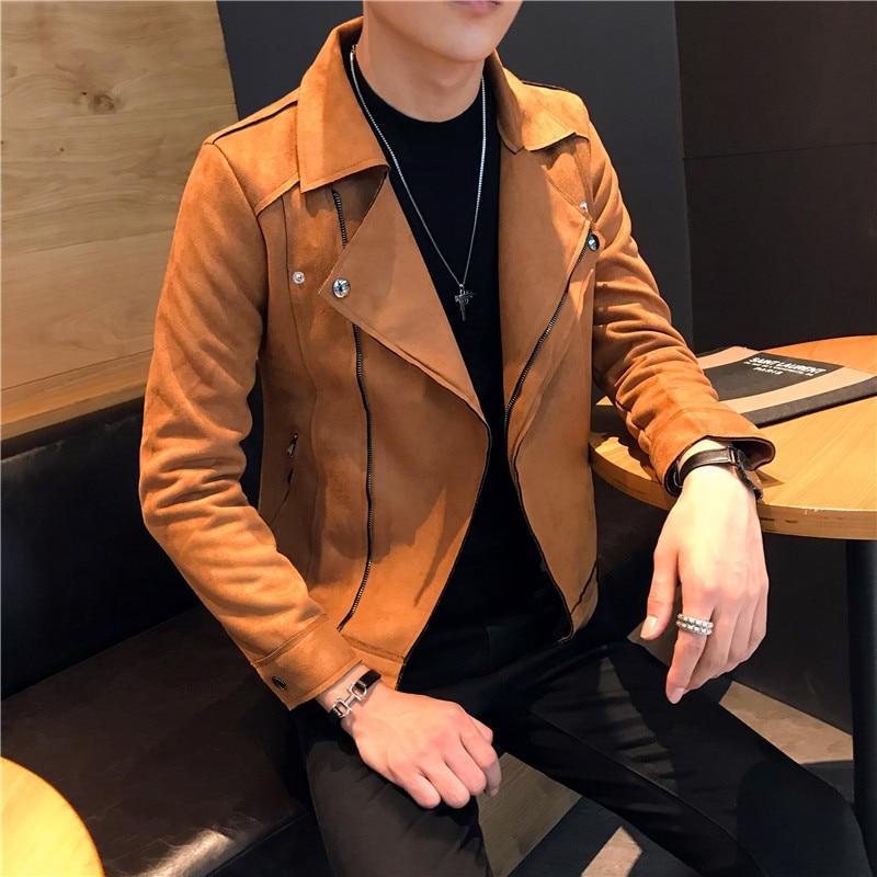Suede Jackets Mens Orange Bomber Jackets Jaqueta Masculina Slim Fit Chaqueta Hombre Moda Hombre 2018 Winter Casacas Para Hombre