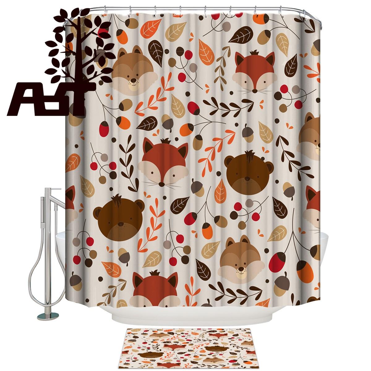 Tienda de arte dibujos animados zorro animales ducha cortina de baño establece con alfombras alfombra de baño con cortina de ducha al aire libre anillos modernos divertidos