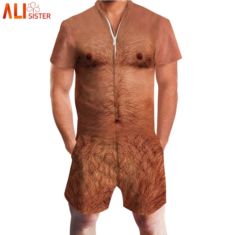 Alibrother-بذلة مطبوعة ثلاثية الأبعاد للرجال ، بدلة قصيرة الأكمام ، مرحة ، بذلة حريم البضائع ، قطعة واحدة ، الصيف