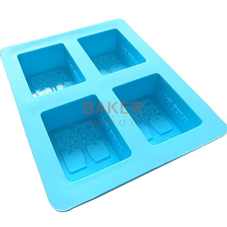 GO árbol grueso redondeado rectángulo 4 rejillas de silicona hecho a mano moldes para jabón de silicona molde CDSM-063