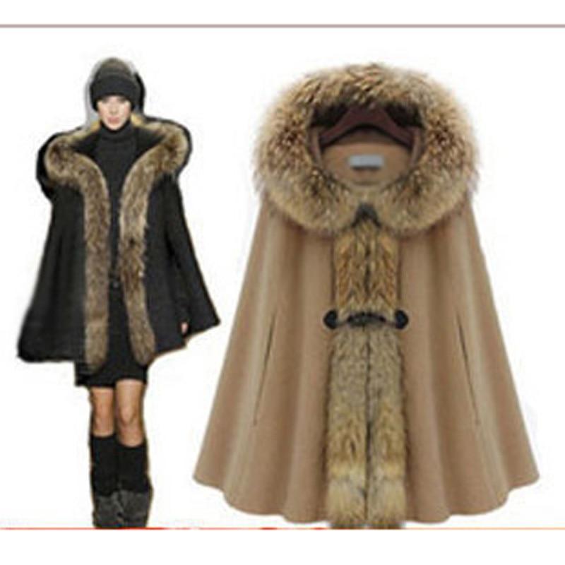 Moda de las mujeres verdadero desmontable cuello de piel Poncho de lana con muy cálido forro elegante capa de abrigo abrigo envío gratis HC152