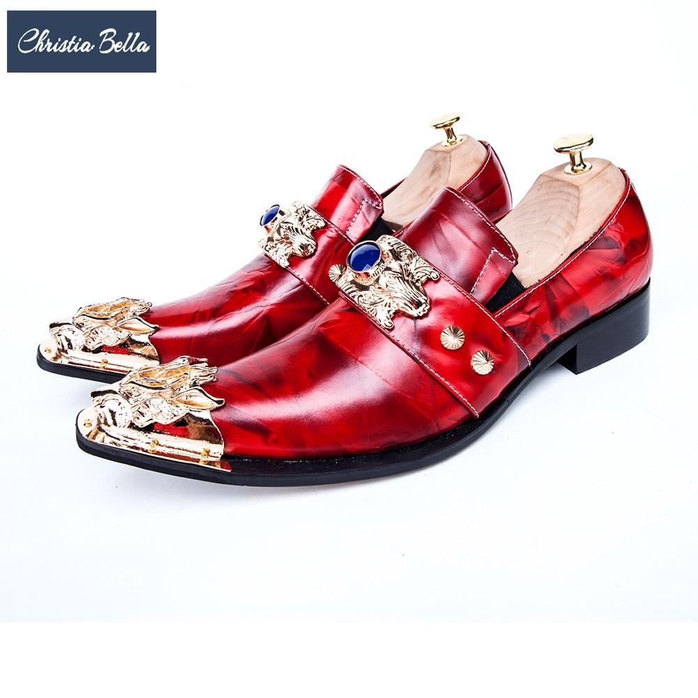 كريستا بيلا-أحذية عمل إيطالية فاخرة بمقدمة مدببة ، أحذية رسمية من الجلد الطبيعي مع سحر معدني ، للرجال ، أحمر