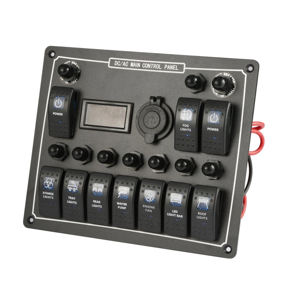 10 impermeable Auto barco Marina LED AC/DC interruptor basculante Panel de alimentación Dual de la sobrecarga del Control de la protección de 15A DC de salida