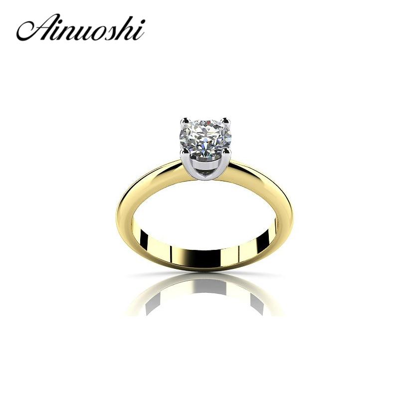 Ouro amarelo cor solitaire anel 925 prata esterlina 1 quilates corte redondo criado anel de noivado amantes anel de banda promessa