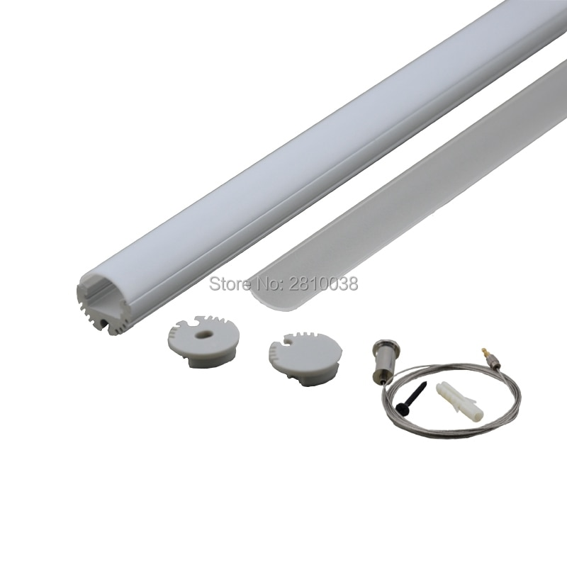 10x1M مجموعات/الكثير جولة نوع بأكسيد الفضة بروفيل الألومنيوم AL6063 الألومنيوم led محة LED الألومنيوم قناة للأضواء قلادة