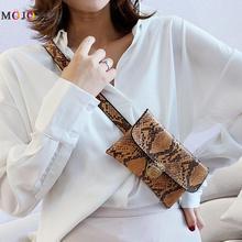 Womens Snake Skin Print Waist Bag Fashion Serpentine PU Leather Fanny Pack for Women Female Chain Envelope Belt Bag