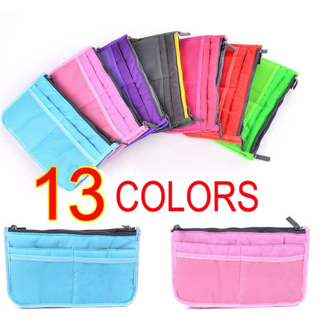 Free Shipping 200PCS/LOT Multifunction 13 Colors Thicken Women storage Insert Handbag Bag Organizer Dual Bag in Bag