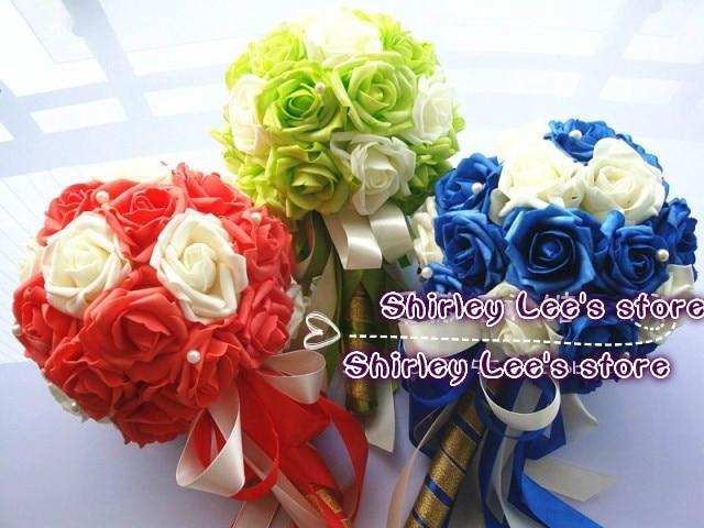 New Arrival!!  (8pcs/lot) Beautiful   Wedding Flowers Bridal Bouquets W/Pearl Wedding Decoration. Gift