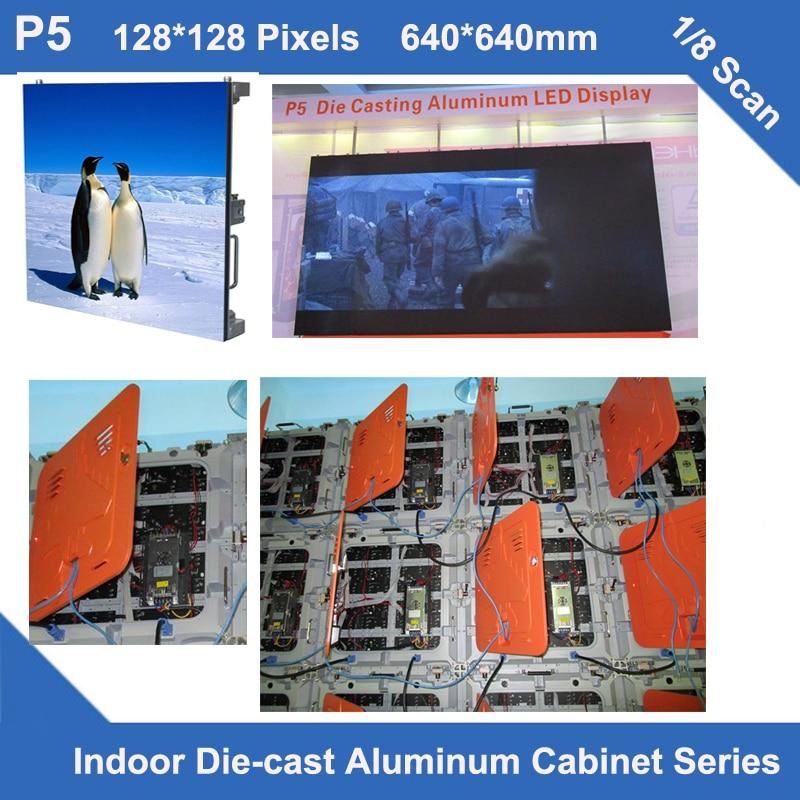 TEEHOled sign indoor P5 diecastCabinet 640mm*640mm 128x128dots slim 1/8scan rental video sign led billboard se advertising panel