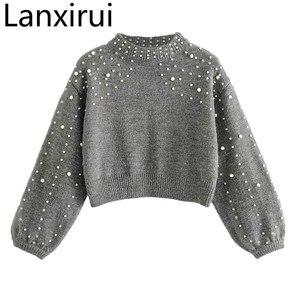 Lanxirui Sweater Beading For Pullovers Knit Garments Sweaters Female Wool Short Pearl Decoration Sweater Women Dec14