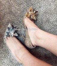 Mode Poined Toe cendrillon cristal chaussures femme talons hauts Sexy Bling femme unique chaussures talons minces mariée chaussures de mariage