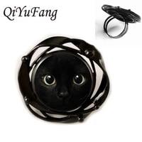 2018 new black cat flower black ring pendant for men women jewelry children friends gift gift free shipping
