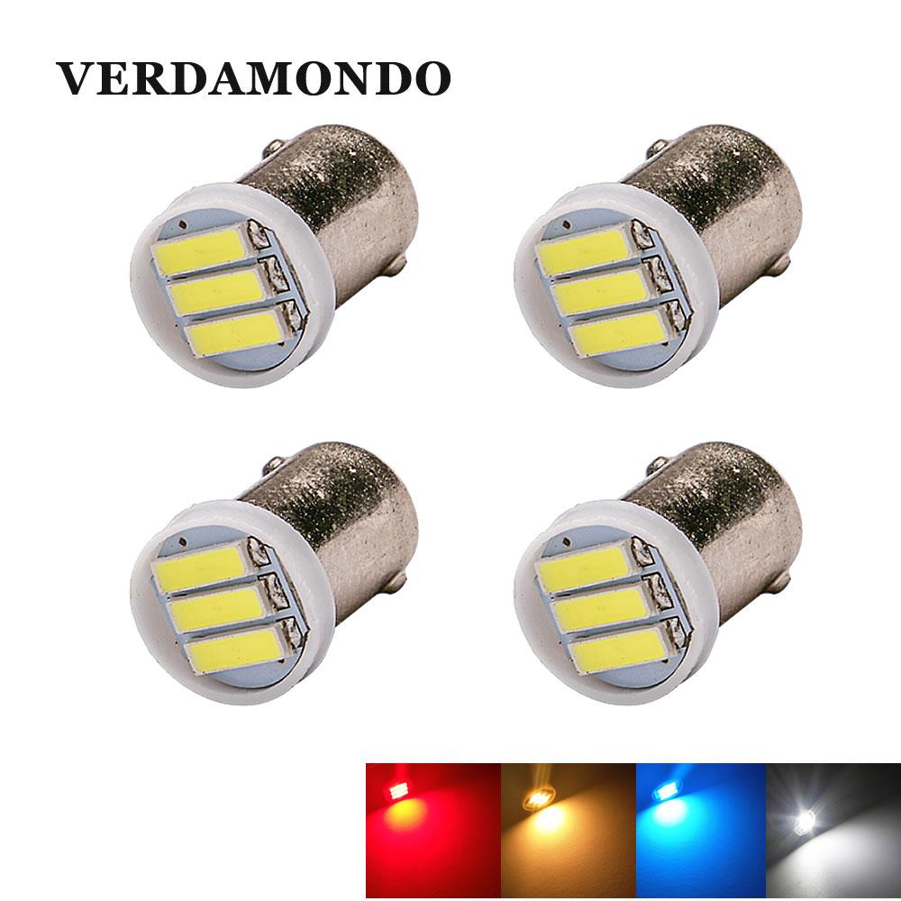 Лампы Автомобильные BA9S T4W 7020 SMD, 4 шт., 3 светодиода, лампы для чтения, чтения, карты, автомобильные лампы постоянного тока 12 В, холодного белого,...