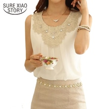 New 2018 Fashion Elegant Diamond Crochet Lace Sleeveless Pleated Chiffon Summer Tops Office Blouses Plus size S-XXXL 036