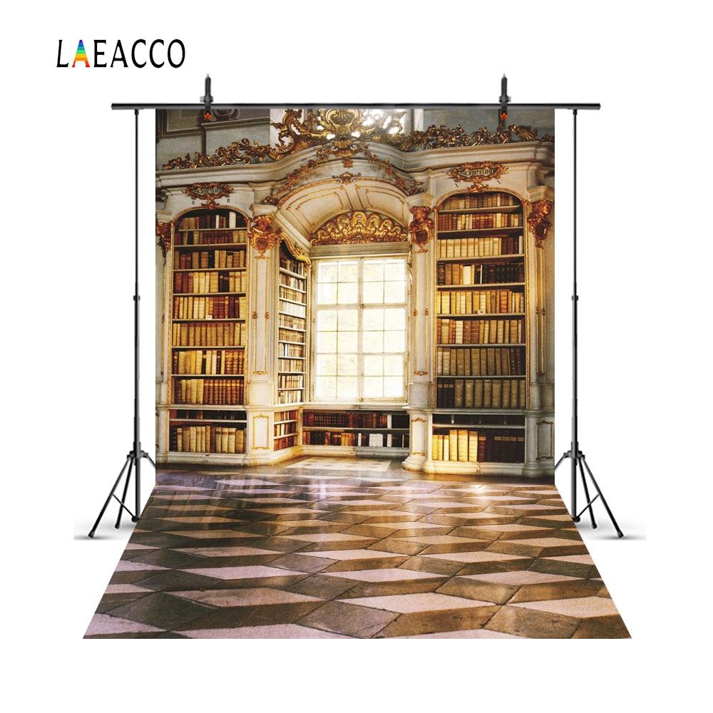 Фон для фотосъемки Laeacco, клетчатый фон с изображением Старой библиотеки арки, настраиваемый Фотофон для фотостудии