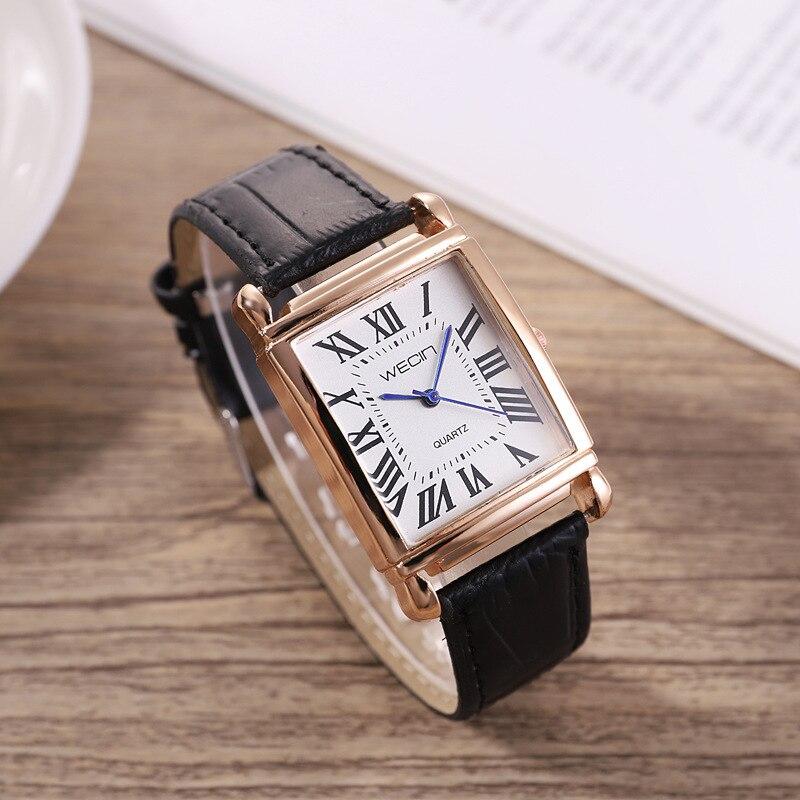 Reloj de pulsera de piel sintética con forma cuadrada clásica para mujer hv5n