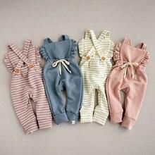 Pelele de punto para niña recién nacida de rayas con Espalda descubierta, mono con volantes, ropa unisex, ropa de bebé, ropa de bebé acanalada
