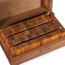 70 stücke DIY decor holz stempel aufrecht niedrigeren buchstaben alphabet Nummer symbol retro gummi briefmarken in holz box