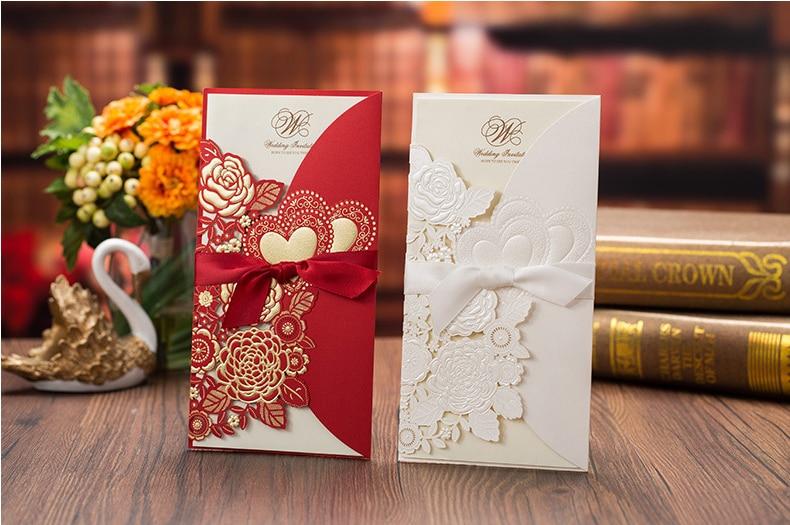 Tarjeta De Invitación De Boda de alta calidad con cinta 113*215mm Tarjeta de flores blancas y rojas que incluye papel interior, sobre y sello