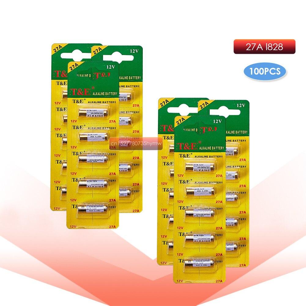 100 Uds 12V 27A alcalina baterías G27A MN27 MS27 GP27A A27 L828 V27GA ALK27A A27BP K27A VR27 R27A timbre de alarma de control remoto