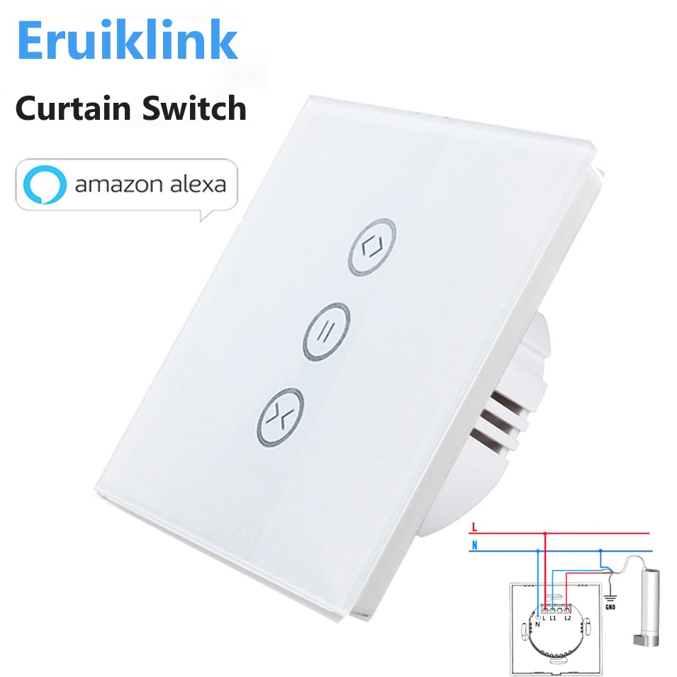 EU/US Type Wifi Control Curtain Switch Touch Glass Panel Remote ON/OFF Electric Curtain,Voice Control by Google home/Alexa makegood luxury galss panel eu type remote control smart electric touch curtain wall switch with led indicator blue backlight