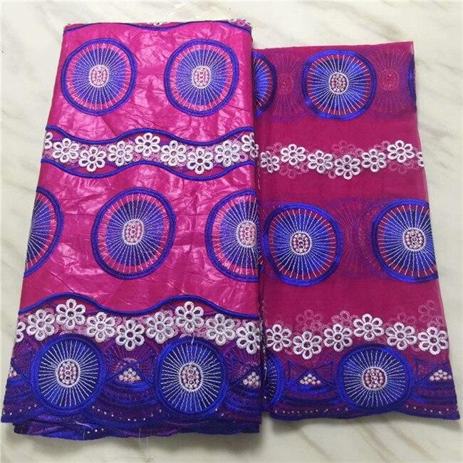 Increíble tela de encaje de algodón africano de la boda con la tela de encaje de la red de la blusa francesa 2y para el conjunto de vestido EBN25 (5y + 2y)