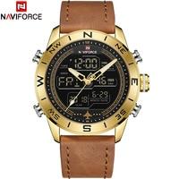 NAVIFORCE Fashion Top Brand Men Watch Leather Waterproof Quartz Wristwatches Men's LED Military Sport Clock Relogio Masculino