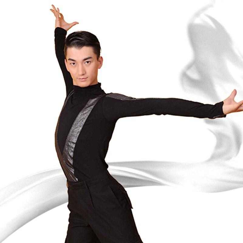 Latin Dance Top Black Long Sleeve Chacha Tango Ballroom Competition Dancing Shirt Men Performing Clo