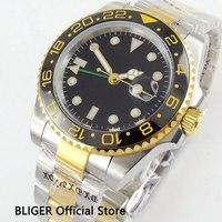 40mm BLIGER luxury top quality black ceramic bezel sapphire glass GMT function luminous marks automatic movement men's watch W2