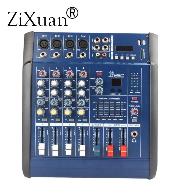 مكبر صوت رقمي مكون من 4 قنوات يعمل بمزج الصوت ومزود بفتحة طاقة فانتوم 48 فولت ومدخل USB/SD لمسرح DJ
