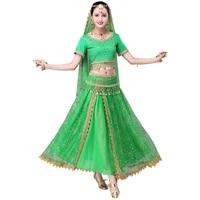 2018 sari dancewear women belly dance clothing set indian dance costumes bollywood dresstopbeltskirtveilheadpiece